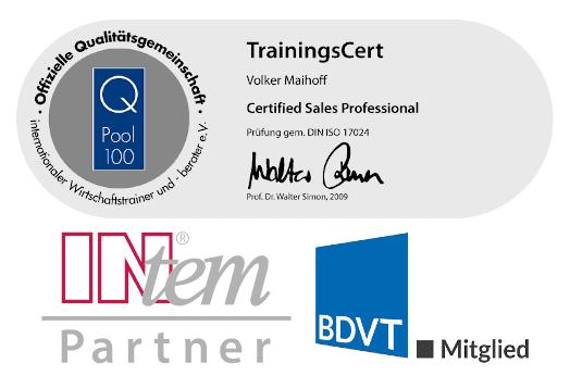 Zertifikate für geprüfte Verkaufstrainer, Mitgliedschaft in der Intem-Trainergruppe und BDVT